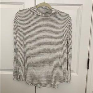 Bobeau Striped Mock Neck Long Sleeve Top NEW small
